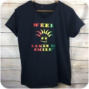 Tops - Weed Makes Me Smile Tshirt Black S:Med